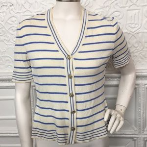 St. John Collection Blue Striped Knit Top